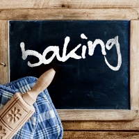 blackboard with the written word baking